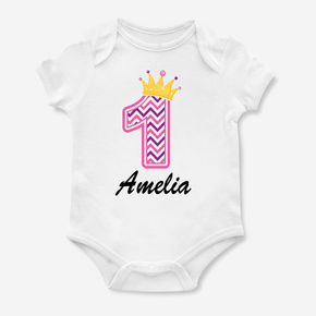 Princess Crown My First Birthday Bodysuit