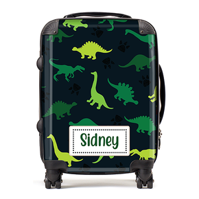 Personalised Dinosaur Green Kids Childrens Luggage Cabin Suitcase
