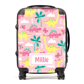 Personalised Dinosaur Girls Kids Childrens Luggage Cabin Suitcase