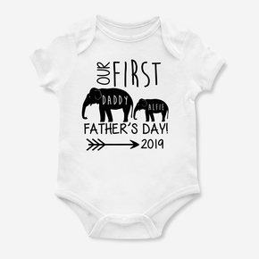 Elephant Our First Father's Day Bodysuit