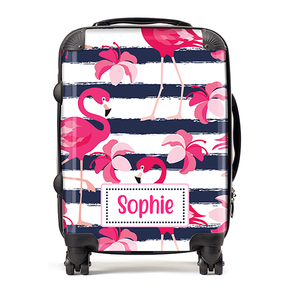 Personalised Tropical Flamingo Kids Childrens Luggage Cabin Suitcase
