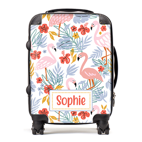 Personalised Flamingo Kids Childrens Luggage Cabin Suitcase