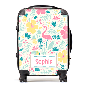Personalised Flamingo Tropical Kids Childrens Luggage Cabin Suitcase