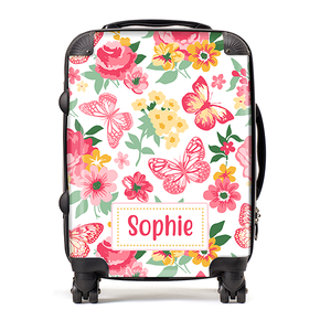 Personalised Floral Kids Children's Luggage Cabin Suitcase