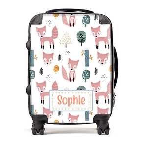 Personalised Fox Hand Drawn Kids Children's Luggage Cabin Suitcase