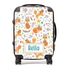 Personalised Fox Tribal Kids Children's Luggage Cabin Suitcase