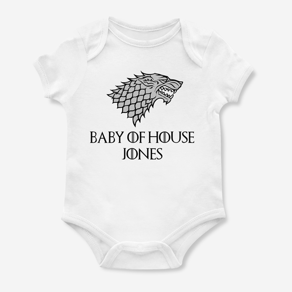 PERSONALISED GAME OF THRONES HOUSE STARK BABYGROW BABY GROW ALL SIZES