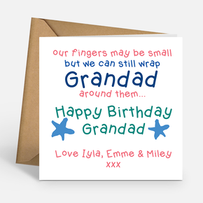 Grandad Birthday Card - Our fingers may be small
