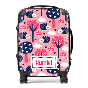 Personalised Hedgehog Kids Children's Luggage Cabin Suitcase