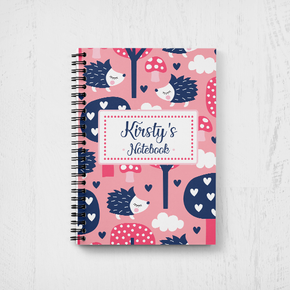 Personalised Teacher Notebook Pink Hedgehog