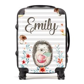 Personalised Hedgehog Water Colour Kids Children's Luggage Cabin Suitcase