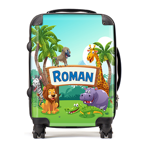 Personalised Jungle Safari Kids Children's Luggage Cabin Suitcase
