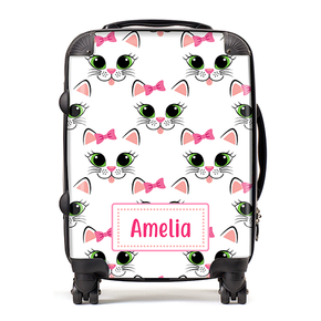 Personalised Kitty Cat Kids Children's Luggage Cabin Suitcase