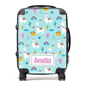 Personalised Llama Rainbow Kids Children's Luggage Cabin Suitcase