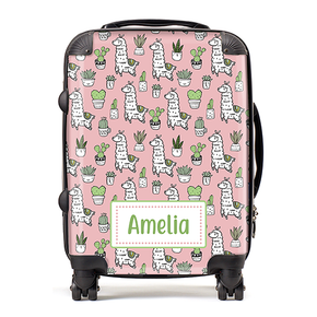 Personalised Llama Kids Children's Luggage Cabin Suitcase