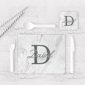 Grey Marble Initial Placemat & Coaster