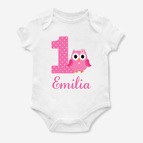 Owl Happy First Birthday Bodysuit