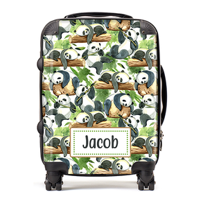Personalised Panda Bamboo Kids Children's Luggage Cabin Suitcase