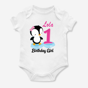 Penguin First Birthday Girl Bodysuit