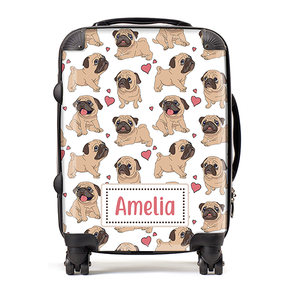 Personalised Pugs Kids Children's Luggage Cabin Suitcase