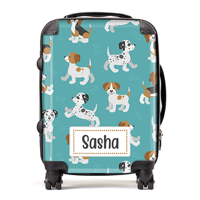 Personalised Puppies Kids Children's Luggage Cabin Suitcase