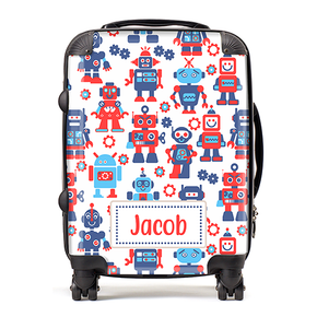 Personalised Robot Kids Children's Luggage Cabin Suitcase