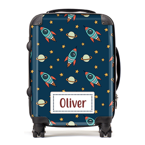 Personalised Space Rocket Ships Kids Children's Luggage Cabin Suitcase