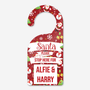 Personalised Christmas Santa Stop Here Door Sign