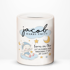 Teddy Bear Boys Money Jar