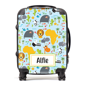 Personalised Safari Animals Kids Children's Luggage Cabin Suitcase