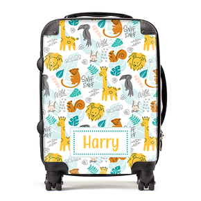 Personalised Safari Giraffe Kids Children's Luggage Cabin Suitcase
