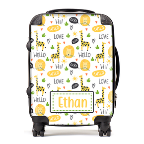 Personalised Safari Lion Kids Children's Luggage Cabin Suitcase