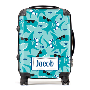 Personalised Shark Sunglasses Kids Children's Luggage Cabin Suitcase