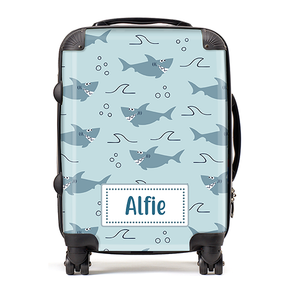 Personalised Shark Kids Children's Luggage Cabin Suitcase