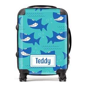 Personalised Shark Kids Childrens Luggage Cabin Suitcase