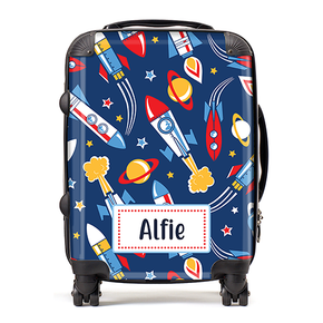Personalised Space Rockets Boys Kids Children's Luggage Cabin Suitcase