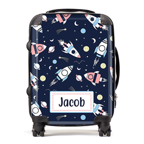 Personalised Space Rockets Kids Children's Luggage Cabin Suitcase