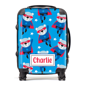Personalised Superhero Bear Kids Children's Luggage Cabin Suitcase
