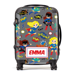 Personalised Superhero Girls Kids Children's Luggage Cabin Suitcase