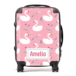 Personalised Swan Princess Kids Children's Luggage Cabin Suitcase