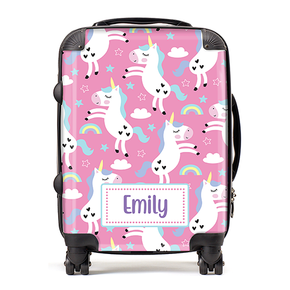 Personalised Pink Unicorns Kids Children's Luggage Cabin Suitcase