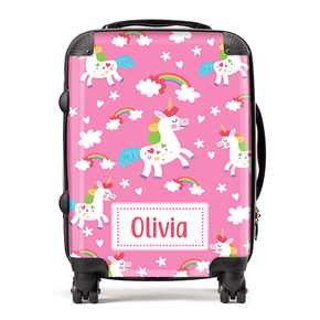 Personalised Pink Unicorn Kids Children's Luggage Cabin Suitcase