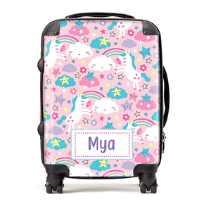 Personalised Pink Unicorn Rainbow Kids Children's Luggage Cabin Suitcase