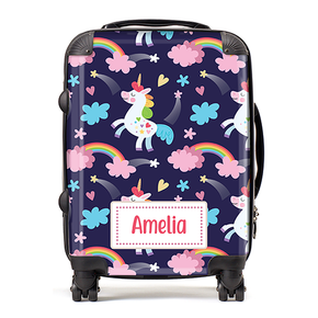 Personalised Purple Unicorn Rainbow Kids Children's Luggage Cabin Suitcase