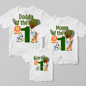 Wild One Safari Jungle Animals Family Matching T-shirts Set