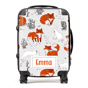 Personalised Winter Fox Kids Children's Luggage Cabin Suitcase