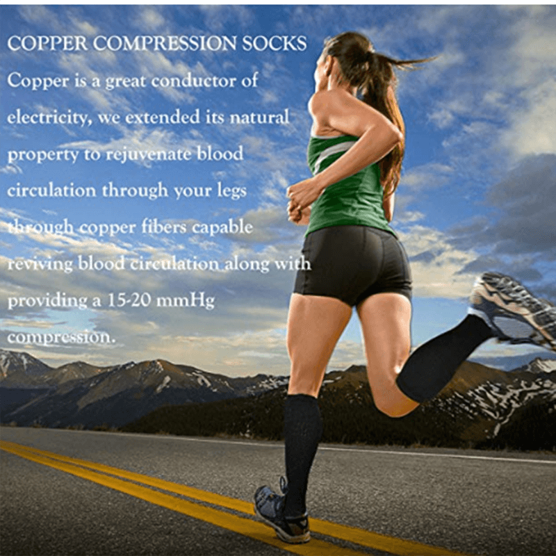 7-Pairs Black Copper Compression Socks For Men & Women -2