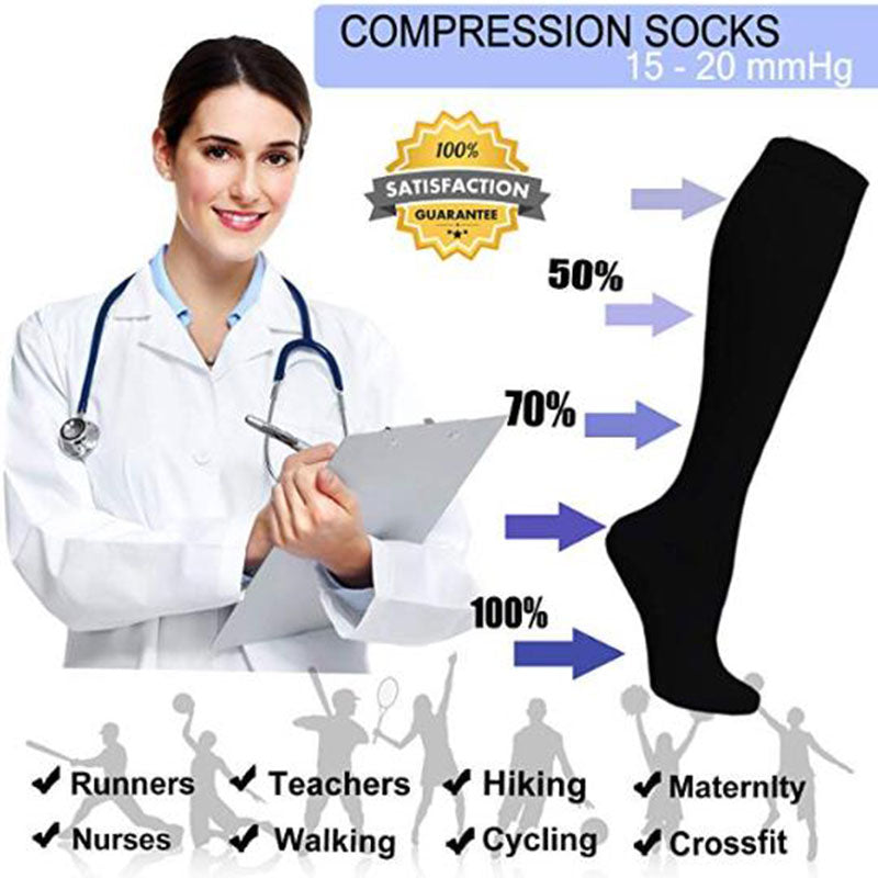 8-Pairs Black Compression Socks -6