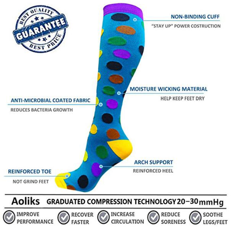 3-Pairs Wave Point Mix Avocado Compression Socks 20-25 mmHG For Man & Woman -5