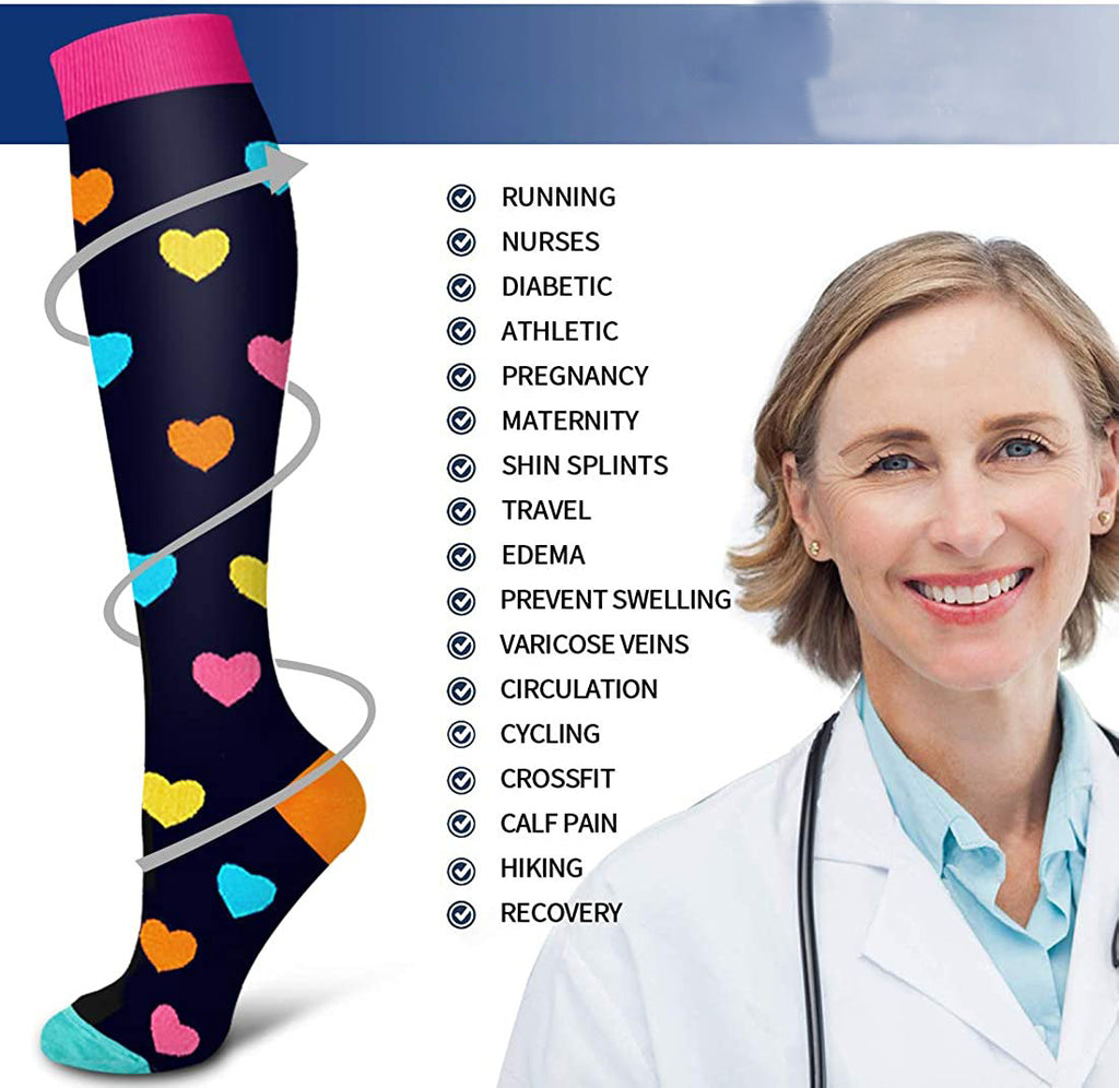8-Pairs Fun Design Compression Socks for Man and Woman (20-30 mmHG) | ACTINPUT